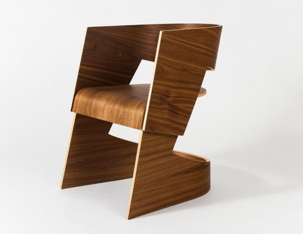 Scandinavian inspired walnut veneer cantilevered chair